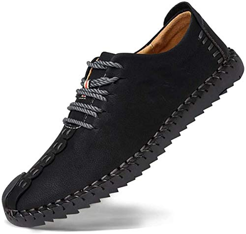 Zapatos de cuero casual de los hombres Zapatos Planos con Cordones hombre Oxford vestido mocasines zapatos de negocios hechos a mano mocasines de conducción de zapatos Negro 45EU