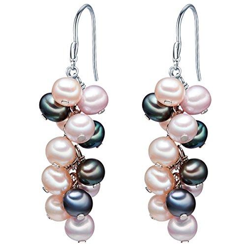 Valero Pearls Plata de ley 925 Perlas de agua dulce de cultivo Pendientes