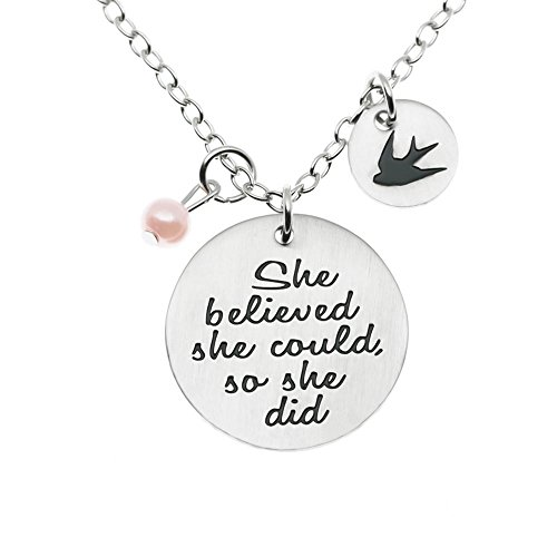 MS.CLOVER She Believed She Could So She Did Necklace, Gift for Her, Graduation Jewelry, Motivating Inspirational Charm.