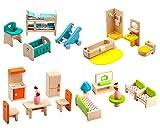 Giraffe 4 Set Colorful Wooden Doll House Furniture, Wood Miniature Bathroom/ Living Room/ Bedroom/ Kitchen House Furniture Dollhouse Doll Decoration Accessories Pretend Play Kids Toy