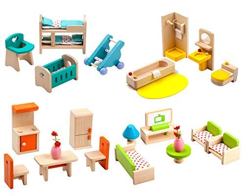 Giraffe 4 Set Colorful Wooden Doll House Furniture Wood Miniature Bathroom/ Living Room/ Bedroom/ Kitchen House Furniture Dollhouse Doll Decoration Accessories Pretend Play Kids Toy
