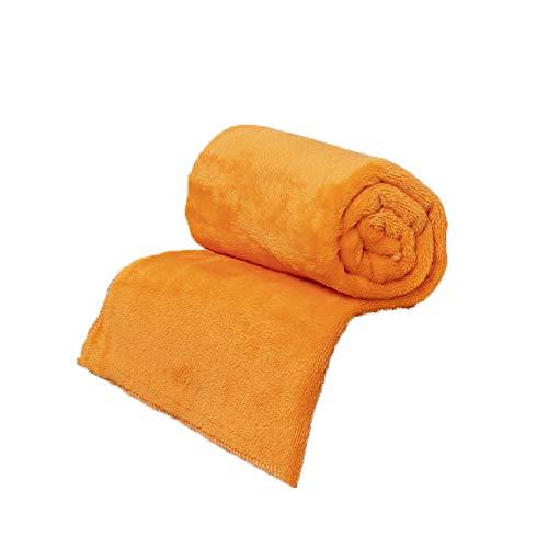 "20x28"" Flannel Pet Blanket Solid Warm Soft Baby Bed Mats Fleece Throw Rug Sofa Bedding Anti-Pilling Bedspread Sheet (Flannel - Orange, 20 x 28 Inch)"