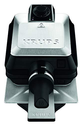 Krups FDD95D Professionelles Waffeleisen | Doppelwaffeleisen | 2 belgische Waffeln gleichzeitig | Dreh-Funktion für perfekte Waffel | 7 Bräunungsstufen | spülmaschinengeeignete Platten | 1200W