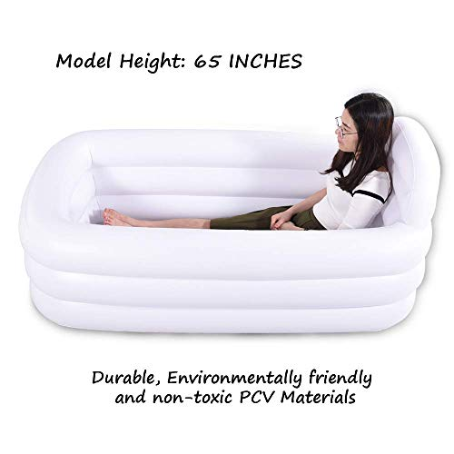 HIWENA Inflatable Portable Bathtub, White Durable Soaking Bath Tub with Large Backrest, Freestanding Inflatable Pool Bathroom Home Spa