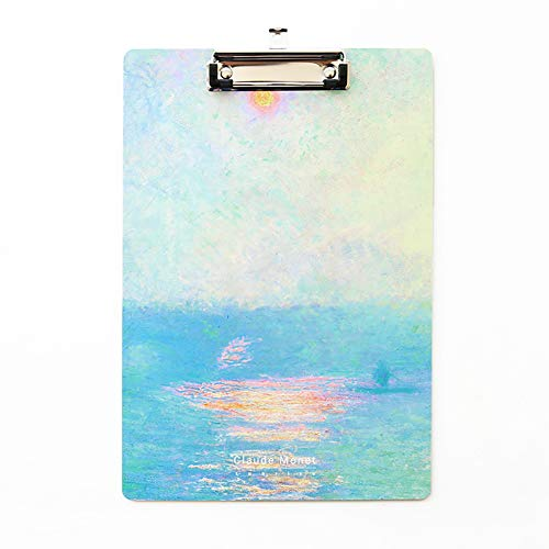 Letter Size Clipboard 12.4 X 8.46 inches   A4 Sunrise Oil Painting Document Holder   Low Profile Clip Boards for Classroom and Office Use (Set of 1)