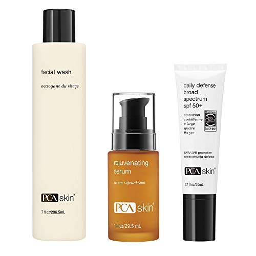 PCA SKIN Face Wash - Gentle Lactic Acid(7 oz) & Rejuvenating Serum - Anti-Aging Antioxidant and Peptide (1 oz) & Daily Defense Broad Spectrum SPF 50+ Zinc Oxide Anti-Aging Face Sunscreen (1.7 oz)