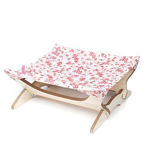 Cama para perro pequeño y cama para gatos Cama para mascotas Cama de madera hamaca gato cesta colgante perrera y arena para gatos cama universal para cuatro estaciones flor de cerezo rosa