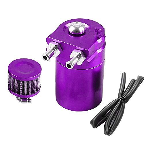 Catch 300 ml de aceite de aluminio puede embalse de coches Tank Universal Separador de aceite de aire con filtro de aire, mangueras y otros accesorios (Morado)
