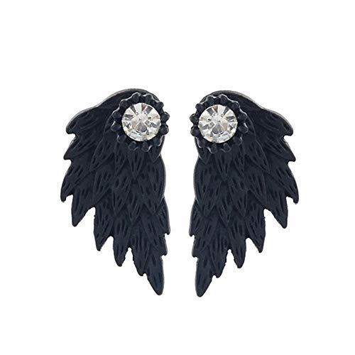 MAJFK Pendientes de plata de ley con diseño de flores pequeñas, diseño retro de alas de ángel, con plumas, aleación de diamante, para mujer, color negro