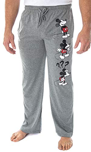 Disney Men's Mickey Mouse Expressions Character Loungewear Adult Sleep Pajama Pants (Large) Grey