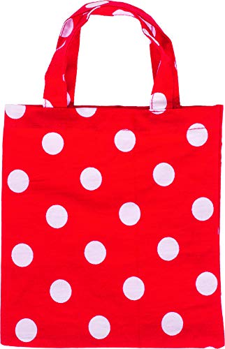 Einkaufsbeutel rot mit weißen Pünktchen für den Kinder Kaufladen, 4er Set