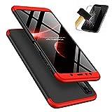 Funda Samsung Galaxy A9 2018 + Vidrio Templado Lanpangzi 360°Caja Caso 3 in 1 Carcasa Todo Incluido Anti-Scratch Case Cover Protectora de teléfono para Samsung Galaxy A9 2018 - Rojo Negro
