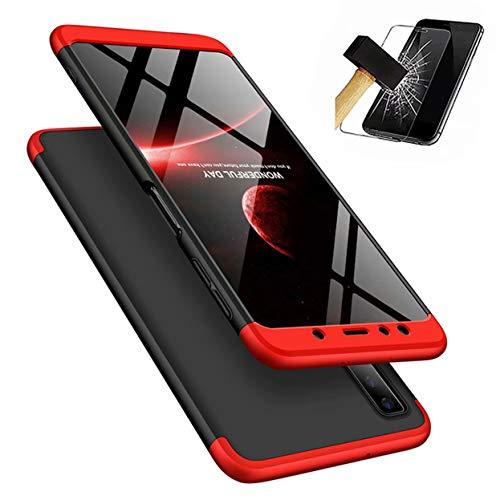 Funda Samsung Galaxy A7 2018 + Vidrio Templado Lanpangzi 360°Caja Caso 3 in 1 Carcasa Todo Incluido Anti-Scratch Case Cover Protectora de teléfono para Samsung Galaxy A7 2018 A750 - Rojo Negro