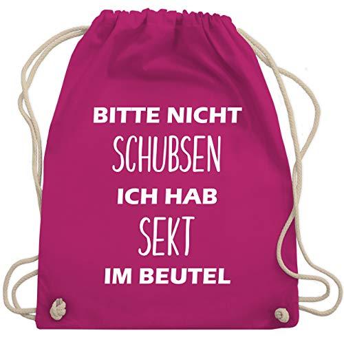 Shirtracer Turnbeutel - Bitte nicht schubsen ich hab Sekt im Beutel - Unisize - Fuchsia - rucksack bedruckt jutebeutel - WM110 - Turnbeutel und Stoffbeutel aus Baumwolle