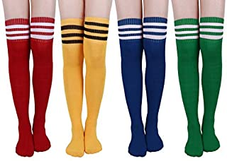 Girls OVER KNEE Ladies Multi Colors Stripy High Long Socks Tights Cotton Rich