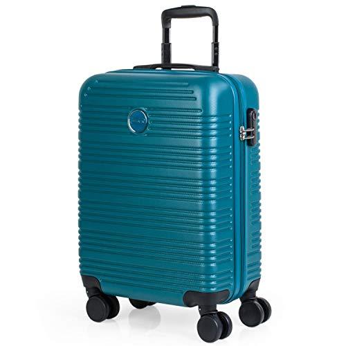 ITACA - Maleta de Viaje Rígida Pequeña 4 Ruedas 55x40x20 cm Cabina Trolley abs. Equipaje de Mano. Dura Cómoda y Ligera. Candado. Low Cost Ryanair. T72150, Color Verde Oscuro