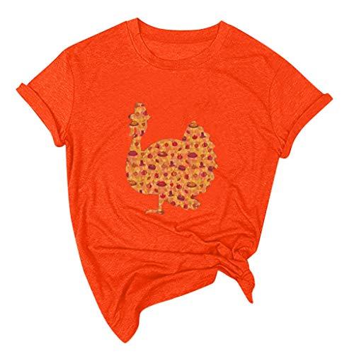 SANFASHION Frauen Thanksgiving Day T-Shirts, Lose Kurzarm Oansatz Bluse Pullover Tops Shirt Herbst Die Türkei Drucken T-Shirts Thanksgiving Letter Pumpkin Harvest - Kurzärmliges Oberteil
