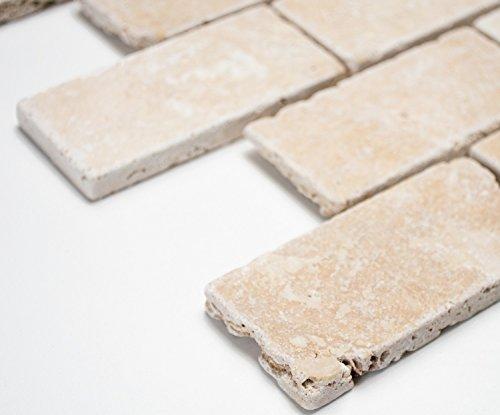 Mosaik-Netzwerk Brick INULA Chiaro Antique TravertineTravertin Naturstein Küche, Mosaikstein Format: 48x100x10 mm, Bogengröße: 60 x 100 mm, 1 Handmuster ca. 6x10 cm