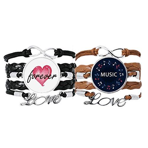 Bestchong Juego doble de pulsera de notas musicales en forma redonda con cuerda de cuero para siempre amor