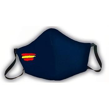 Mascarilla protectora de 3 capas azul homologada bandera de España: Amazon.es: Salud y cuidado personal