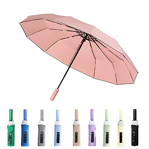 BAODINI Big Folding Umbrella Compact for Women Windproof Travel Automatic Open Colse 12 Ribs 46 Inch for 2 People with Reflective Stripes in your Car and Bags