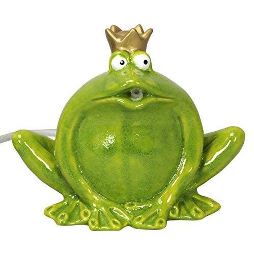 Gartenzaubereien Wasserspeier großer Frosch grün,Keramik
