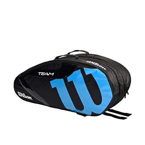 Wilson(ウイルソン) テニス バドミントン ラケットバッグ TEAMJ 1.0 6PK (チームJ 1.0 6パック) 76x23x32cm ラケット6本まで収納可 (中厚程度のラケットを基準) ブラック・ブルー WR8014701001