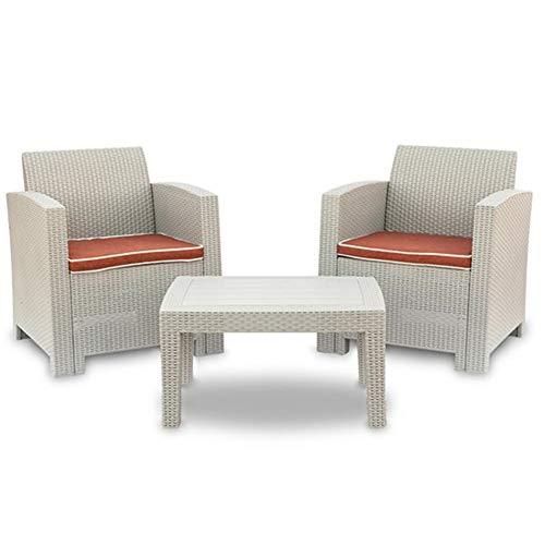 DZWJ 3 pièces Météo Patio extérieur Meubles de Jardin Sofa Set Gris Blanc-Causeuse et Une Table Basse Canapé