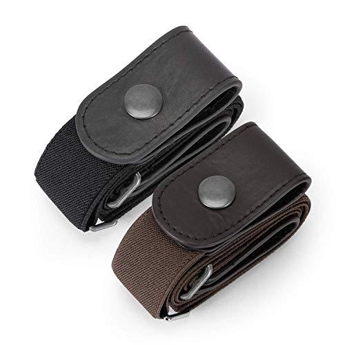 JasGood 2 Pack Schnallenfrei Elastischer Gürtel für Damen oder Herren, Ohne Schnalle Keine Ausbuchtung Unsichtbare Gürtel, Schwarz/Kaffee, Hosengrößen 80cm-120cm