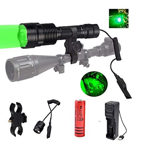 Linterna de Caza Verde, 500 Lúmenes 250 Yardas Linterna LED de Luz Verde, Luz de Caza Coyote Hog con Montaje de Visor, Interruptor de Presión, Batería y Cargador