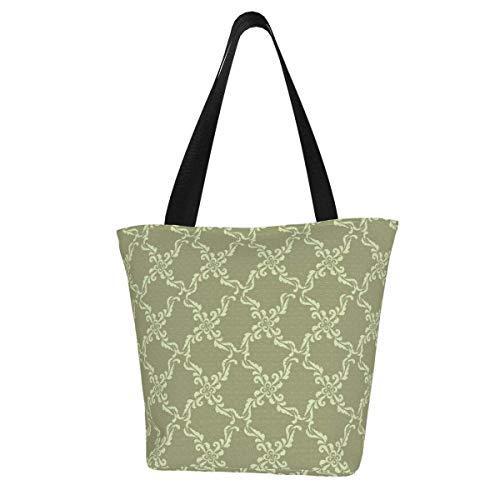 Personalised Canvas Tote Bag,Floral Geometric Pattern Retro Oriental Flourish Ornament Washable Handbag Shoulder Bag Grocery Bags Shopping Bag for Women