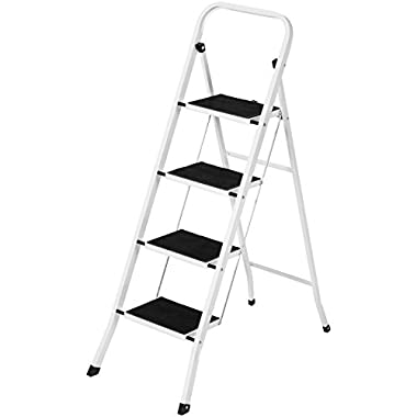 Best Choice Products Portable Folding 4 Step Ladder Steel Stool 300lb Heavy Duty Lightweight