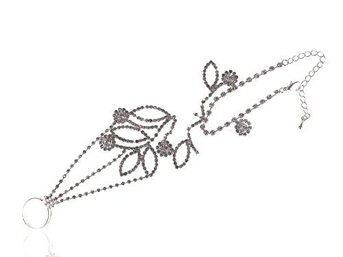 ALILANG シルバートーン クリスタル ラインストーン ファッション フラワーリング ブレスレット ハーネス ハンドチェーン