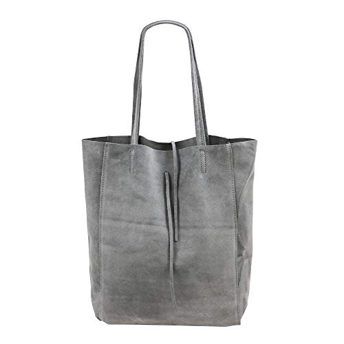 SH Leder ® Damen Echt Wildleder Shopper mit Innentasche in vielen Farben Schultertasche Henkeltasche 37x29cm Katrin G261 (Hell Grau)