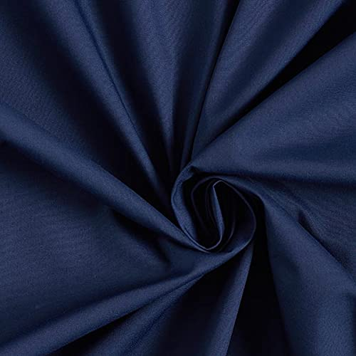 Popeline Stoff Uni – marineblau — Meterware ab 0,5m — zum Nähen von Kissen/Tagesdecken, Tischdekoration & Freizeitkleidung