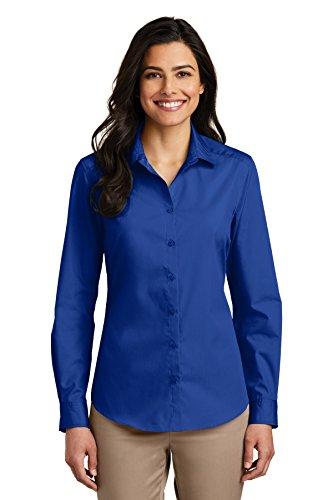 Port Authority Women's Long Sleeve Carefree Poplin Shirt, True Royal, Medium
