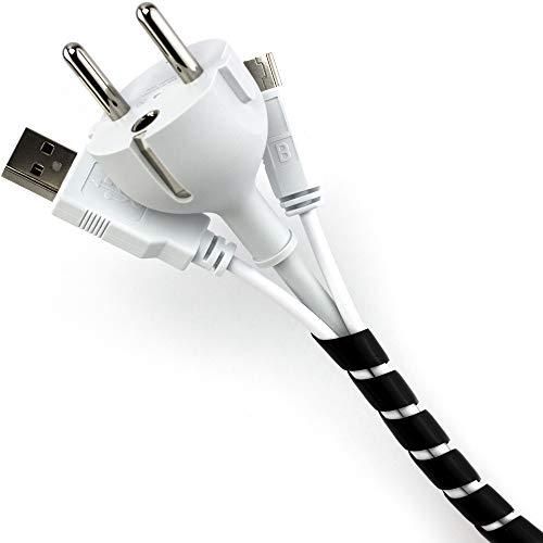 Purovi Organizador de Cables en Espiral | Longitud 10 m | Tubo Protector Flexible | Diámetro 6-60 mm | Negro