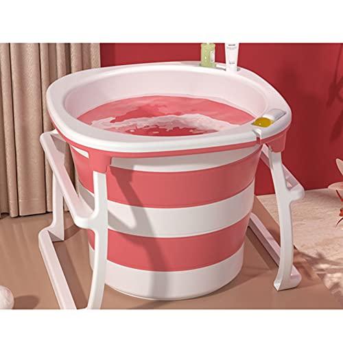 JXING Bañera para Adultos, Bañera Plegable para Adultos, Bañera para Niños, Bañera Redonda para Uso Doméstico, Rosa, Azul