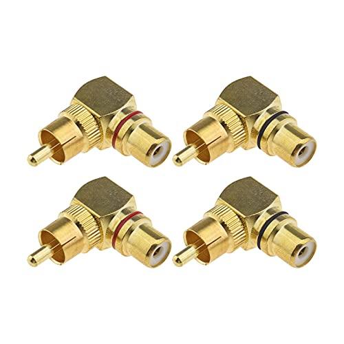 4 adaptadores de toma de 90 grados RCA macho a hembra para mezclas de audio, equipo periférico, amplificador de pared TV y micrófonos electrónicos
