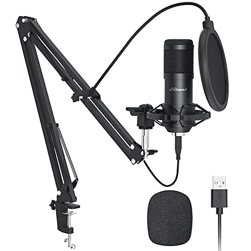 USB Microphone - Recording Microphone, Gaming Microphone, PC Streaming Podcast Mic, 192KHZ/24Bit Microphone, USB Mic Kit with Sound Chipset Boom Arm Set
