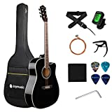 JOYMUSIC 6 String 41' Acoustic Guitar Kit,Black,High Gloss (JOY-41C), Right