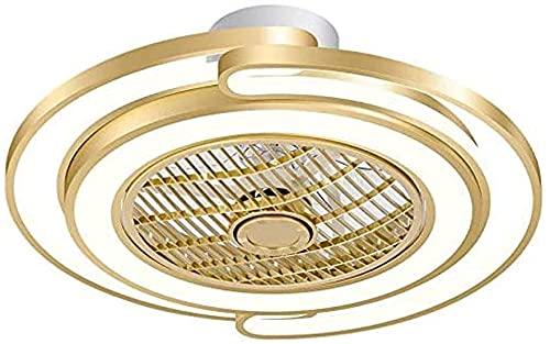 Lujoso ventilador de techo dorado con lámpara Lámpara de lujo Ventilador Lámpara moderna Habitación tranquila Ventilador de techo con luz LED LED Fillelier regulable con control remoto para sala de es