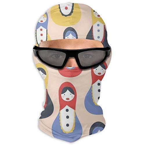 Nonebrand Matrioschka Puppe Muster Vollgesichtsmaske Sonnenschutz Winddichte Maske Motorradmaske Sturmhaube Herren Damen Jugendliche Outdoor Sport Reiten Wandern Skifahren