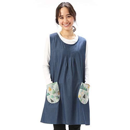 NISHIKI[ニシキ] エプロン おてんばママ 本体は綿100% 保育士 保育園 幼稚園 かわいい アップリケ 刺繍 サイドボタン ポケット付き レディース チュニック apron (ネイビー/ML/nw7015)