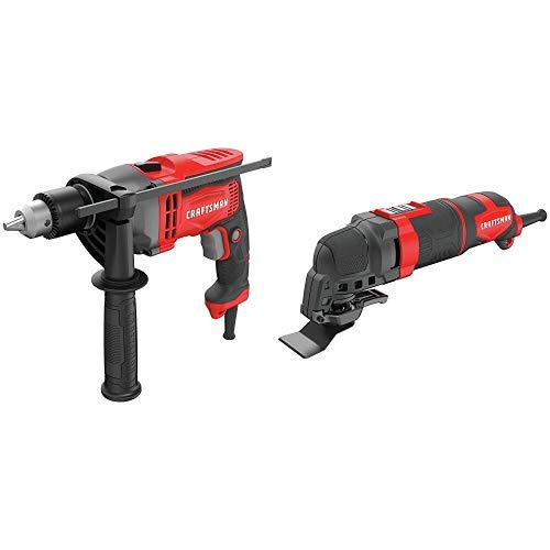 CRAFTSMAN Drill/Driver, 7-Amp, 1/2-Inch with Oscillating Tool Kit, 3-Amp, 14-Pieces (CMED741 & CMEW400)