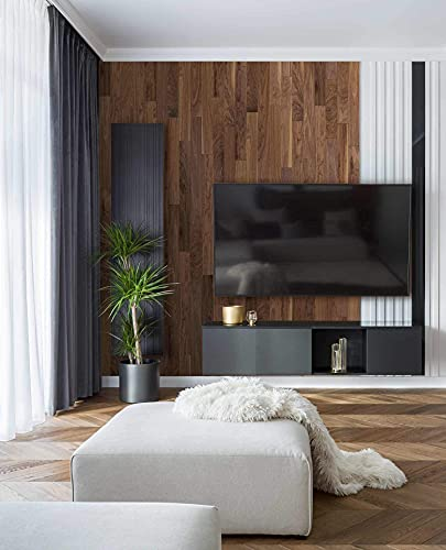 wodewa Wandverkleidung Holz selbstklebend 3D Nussbaum 1m² Wandpaneele Moderne Wanddekoration Holzverkleidung Holzwand Wohnzimmer Küche Schlafzimmer