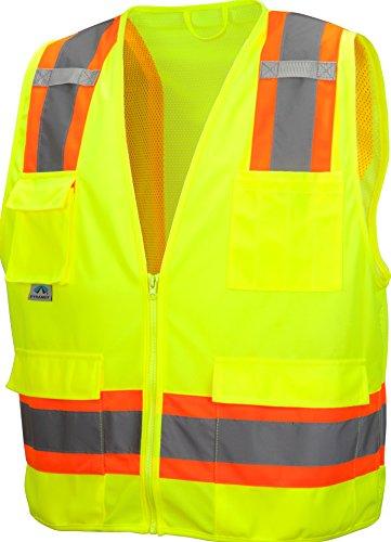 Pyramex RVZ2410SEM Lumen X Class 2 Self-Extinguishing Surveyors Safety Vest, Medium, Hi-Vis Lime