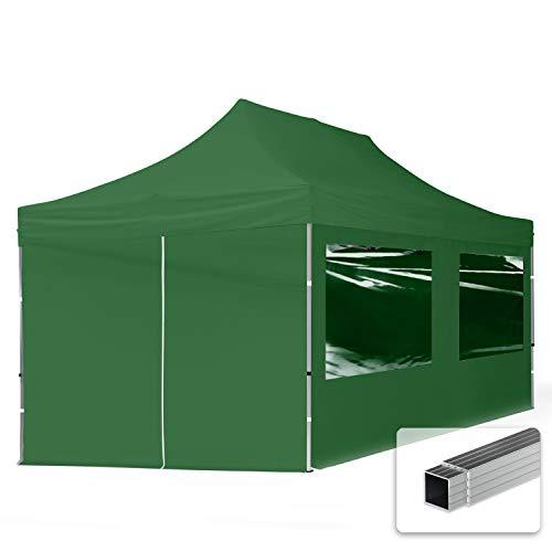 TOOLPORT Gazebo Pieghevole Giardino 3x6m - 4 Laterali Alluminio PES300 Telo 100% Impermeabile Padiglione Mercati Sagre Verde