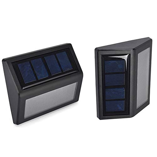 Solarleuchte LED Solar Wandleuchte, Solarlampen für Außen Wasserdicht Aussen Solarlicht Solarbetriebene Kabelloses Sicherheitslicht für Gärten Innenhof Weg, Zaun Treppen-2 Stück (warm Weisse)