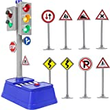 Kiddie Play Traffic Signs and Crosswalk Light Signal Toys for Kids (12pcs)